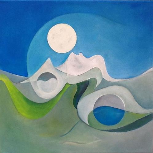 Roswitha Klotz, White Mountains dancing under the Moon, Romantic motifs, Abstract art, Post-Surrealism