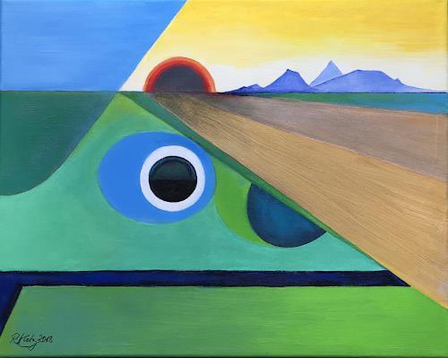Roswitha Klotz, Dark Sunset, Landscapes, Miscellaneous Emotions, Primitive Art/Naive Art