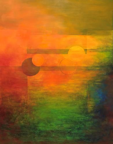 Roswitha Klotz, Hot Summer  IV, Emotions, Nature: Miscellaneous, Neo-Impressionism, Expressionism