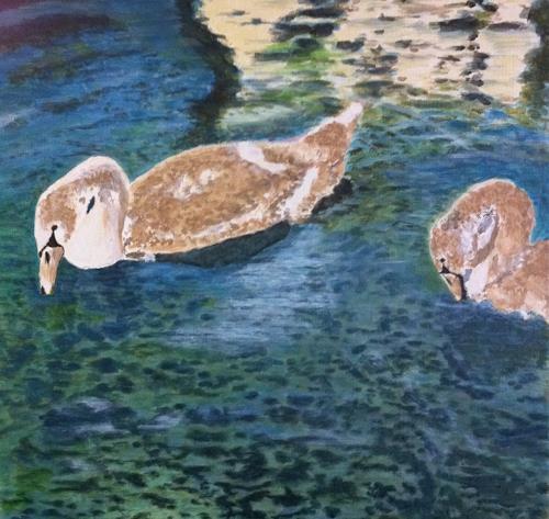 Reto Brüesch, Jungschwäne, Animals: Water, Neo-Impressionism