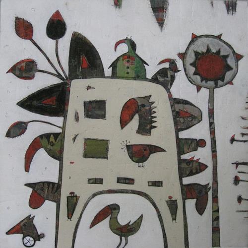Doris Kummer, Tierhaus mit Baum, Abstract art, Abstract Art, Abstract Expressionism