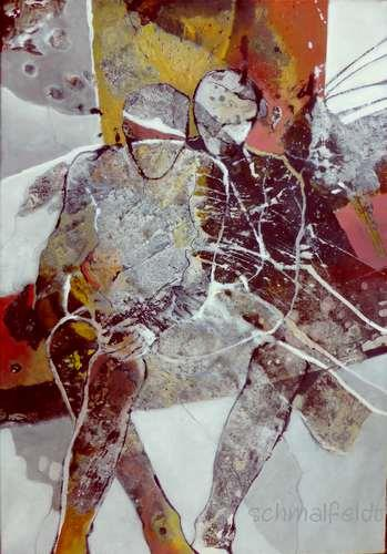 Gabriele Schmalfeldt, o.T. 29/20, People: Couples, Emotions: Safety, Abstract Art, Expressionism