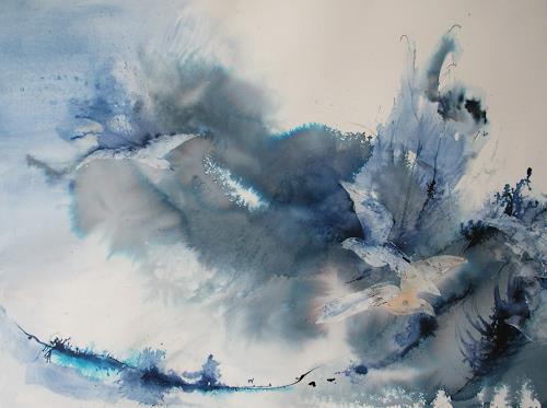 Andrea Huber, blaue Vögel, Nature: Air, Animals: Air, Contemporary Art, Expressionism