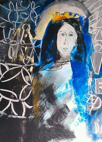 Andrea Huber, Serie Marias blauer Mantel 1, Belief, Mythology, Neo-Expressionism