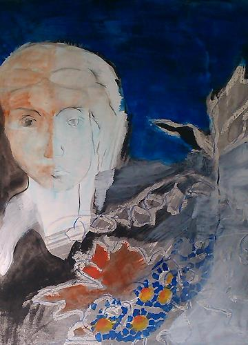 Andrea Huber, Serie Marias blauer Mantel 3, People: Women, Mythology, Neo-Expressionism