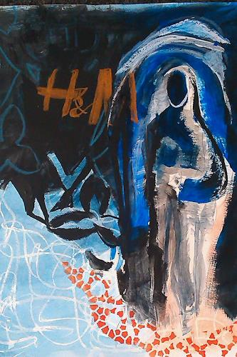 Andrea Huber, Serie Marias blauer Mantel 4, People: Women, Mythology, Neo-Expressionism