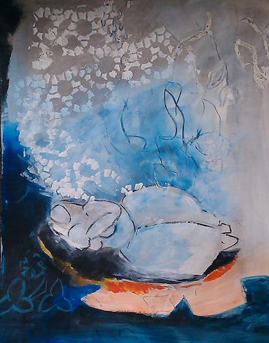 Andrea Huber, Serie Marias blauer Mantel 7, Mythology, People: Women, Neo-Expressionism