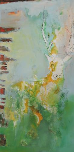 Andrea Huber, Hirsch I, Animals: Land, Abstract art, Abstract Expressionism