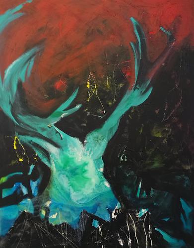 Andrea Huber, Mächtiger Hirsch, Animals: Land, Hunting, Neo-Expressionism