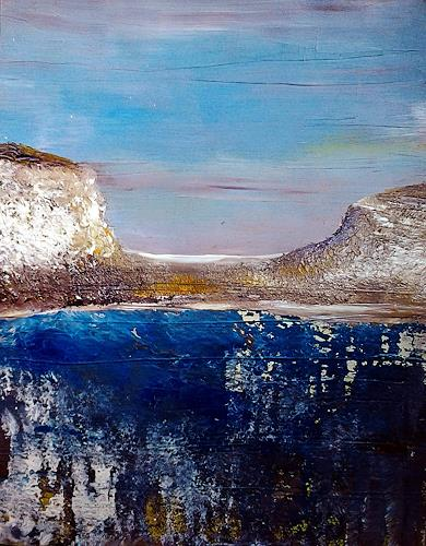 Renate Horn, Am Wasser, II, Landscapes: Sea/Ocean, Leisure, Contemporary Art, Expressionism