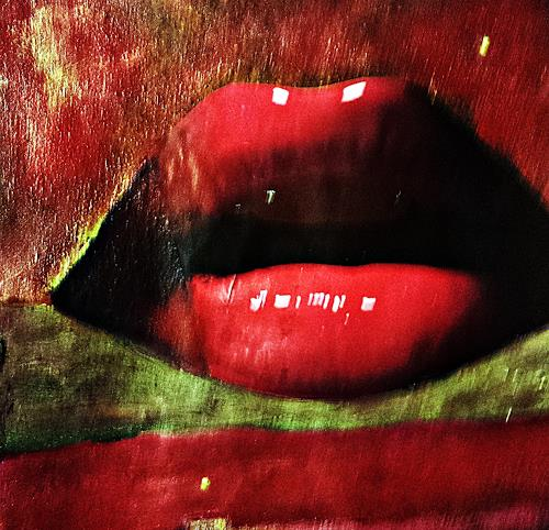 Renate Horn, Red lips, Miscellaneous Erotic motifs, Miscellaneous Emotions, Contemporary Art, Abstract Expressionism