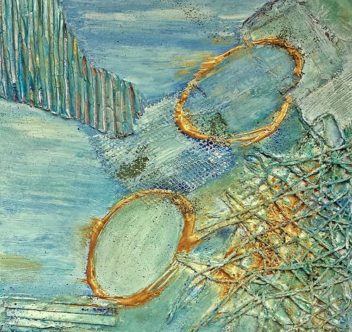 Renate Horn, Serie Materialmix II, : Rhapsody in `Schilf, Miscellaneous Landscapes, Decorative Art, Contemporary Art, Expressionism