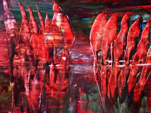 Renate Horn, Abendstimmung am Boddenhafen, Landscapes: Sea/Ocean, Romantic motifs: Sunset, Contemporary Art, Abstract Expressionism