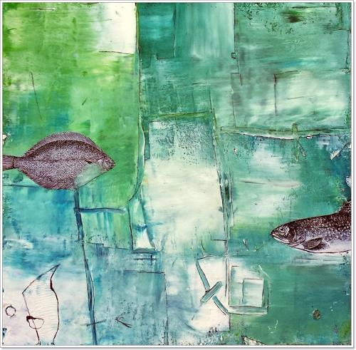 Renate Horn, Begegnung im Wasser, Animals: Water, Landscapes: Sea/Ocean, Contemporary Art, Expressionism