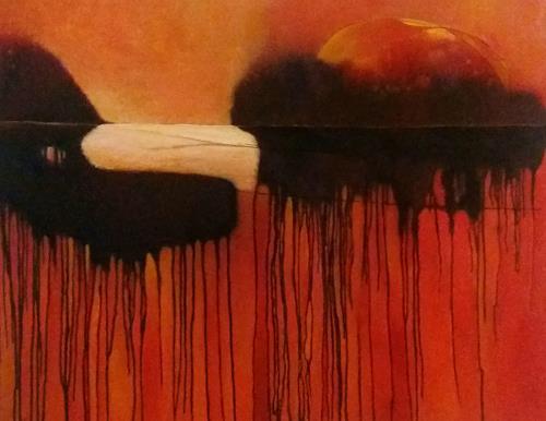 Renate Horn, Sundowner, I, Romantic motifs: Sunset, Landscapes: Sea/Ocean, Contemporary Art, Abstract Expressionism