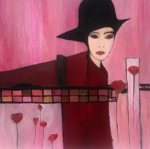 Renate Horn, Lady in red, People: Women, Plants: Flowers, Contemporary Art, Expressionism