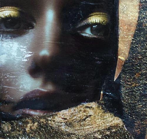 Renate Horn, Golden, People: Women, Decorative Art, Contemporary Art, Expressionism