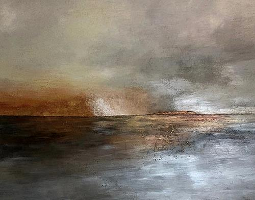 Renate Horn, Abendstimmung, Landscapes: Sea/Ocean, Miscellaneous Emotions, Abstract Art