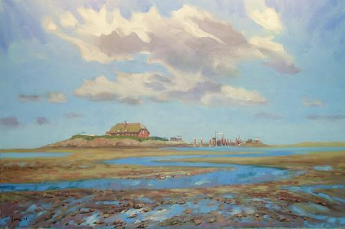 Reiner Dr. med. Jesse, Niedrigwasser vor der Hallig Langeness, Landscapes: Sea/Ocean, Impressionism, Expressionism