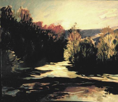 Reiner Dr. med. Jesse, Staustufe an der Saale - Gegenlicht, Landscapes: Plains, Impressionism, Abstract Expressionism