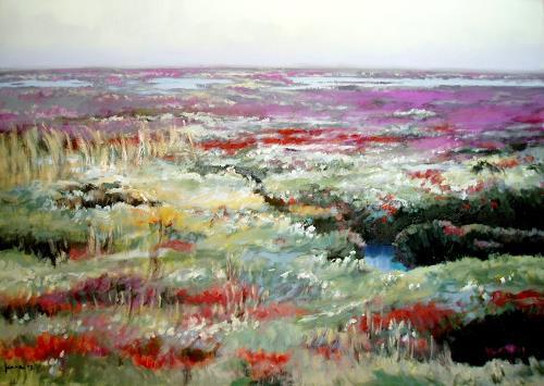 Reiner Dr. med. Jesse, Amrum-Salzwiese in sommerlicher Farbenpracht auf der Odde, Landscapes: Sea/Ocean, Impressionism, Expressionism