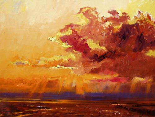 Reiner Dr. med. Jesse, Aufziehendes Unwetter im Watt vor Horumersiel, Landscapes: Sea/Ocean, Impressionism, Expressionism