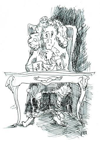 Reiner Dr. med. Jesse, Voltaire hinter seinem Schreibtisch à la Louis Seize, Burlesque, Modern Age
