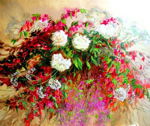 Reiner Dr. med. Jesse, Sommerstraus - Weigelien und Pfingstrosen, Plants: Flowers, Impressionism, Expressionism