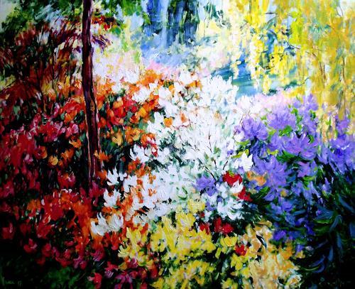 Reiner Dr. med. Jesse, Rhododendron und Azaleen im Morgenlicht, Plants: Flowers, Impressionism