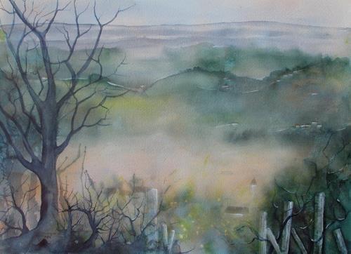 Helga Matisovits, Morgenstimmung, Landscapes: Hills, Romantic motifs: Sunrise