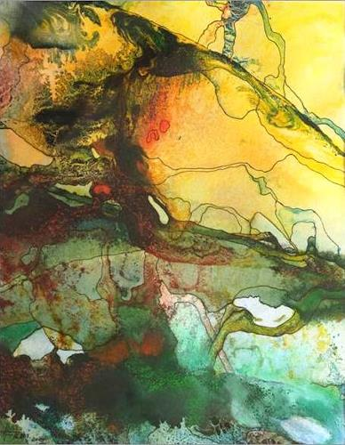 Helga Matisovits, Monde illusoire II, Abstract art, Romantic motifs, Abstract Expressionism