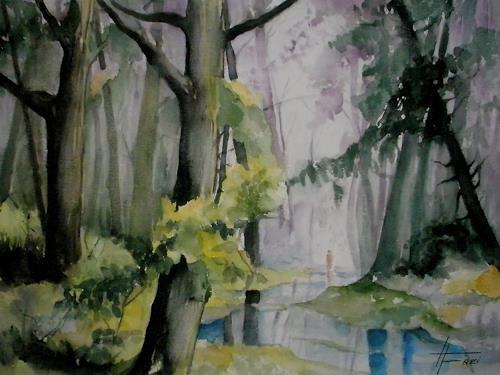 Helga Matisovits, Waldspaziergang, Nature: Wood, Plants: Trees, Expressionism