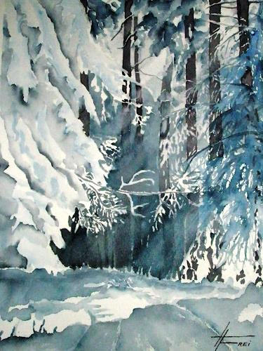 Helga Matisovits, Winterwald, Nature: Wood, Landscapes: Winter, Expressionism