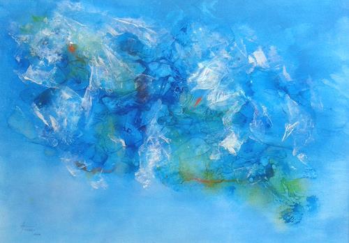 Helga Matisovits, Plastik im Meer, Landscapes: Sea/Ocean, Abstract art, Abstract Art