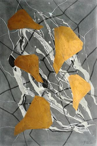 Helga Matisovits, Komposition in Gold, Abstract art, Movement, Abstract Art