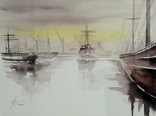 Helga Matisovits, Hafenstimmung I, Landscapes, Nature: Water, Abstract Art, Expressionism