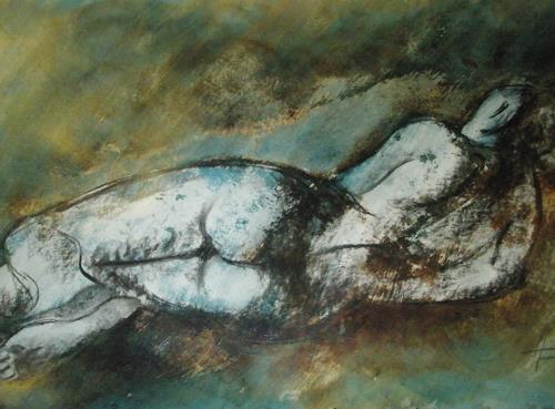 Helga Matisovits, Akt liegend, Erotic motifs: Female nudes, People: Women, Abstract Art