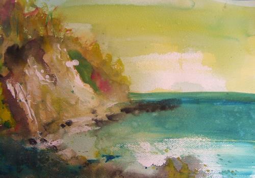Sabine Brandenburg, Kreidefelsen Sassnitz, Landscapes: Sea/Ocean, Nature: Rock, Expressionism