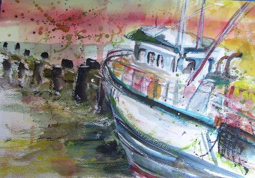 Sabine Brandenburg, Fischerboot Sassnitz Rügen, Landscapes: Sea/Ocean, Verkehr: Ship, Expressionism