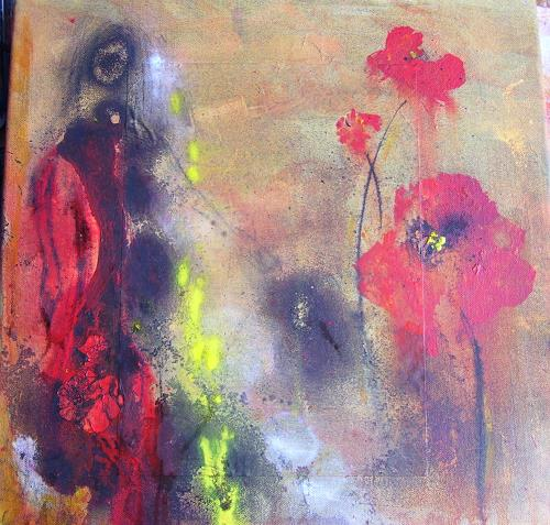 Sabine Brandenburg, Mohn, Abstract art, Landscapes: Summer, Contemporary Art, Expressionism
