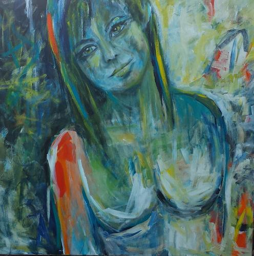 Sabine Brandenburg, orange, Erotic motifs: Female nudes, People: Women, Contemporary Art