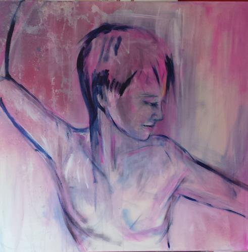 Sabine Brandenburg, Akt pink, People: Women, Erotic motifs: Female nudes, Contemporary Art, Expressionism