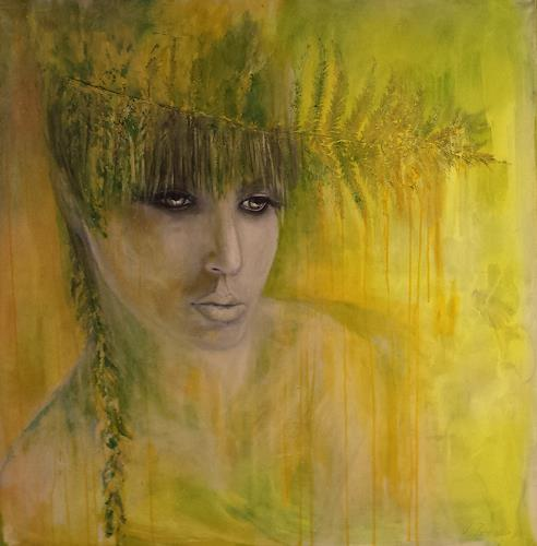 Sabine Brandenburg, Waldfee überarbeitet, People: Women, People: Faces, Contemporary Art, Expressionism
