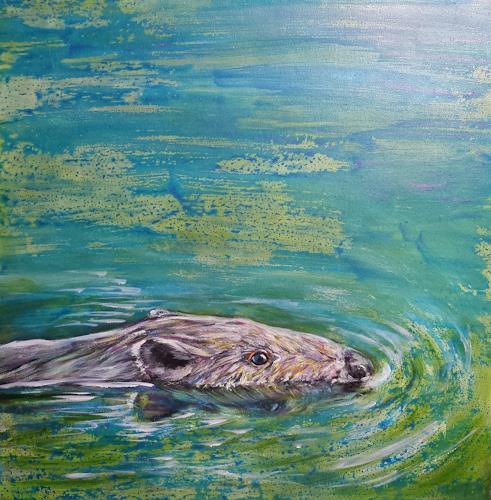 Sabine Brandenburg, Biber, Animals: Water, Nature: Water, Contemporary Art, Expressionism