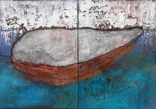 Franziska Schmalzl, Weit hin, Landscapes: Sea/Ocean, Nature: Water, Primitive Art/Naive Art