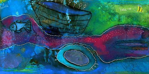 Franziska Schmalzl, Ausflug nach Hawaii, Nature: Water, Movement, Primitive Art/Naive Art, Abstract Expressionism