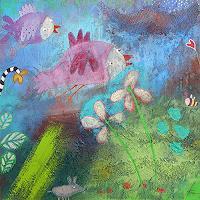 Franziska-Schmalzl-Landscapes-Sea-Ocean-Animals-Air-Modern-Age-Primitive-Art-Naive-Art