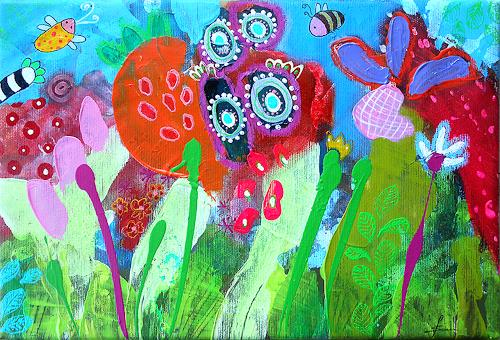 Franziska Schmalzl, Gestatten: Frau Blume Wurstelprater mein Name, Landscapes: Summer, Animals: Air, Primitive Art/Naive Art