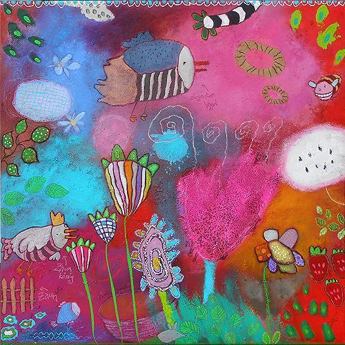 Franziska Schmalzl, Naturszene für Hollywood, Nature, Animals: Air, Primitive Art/Naive Art, Expressionism