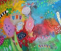 Franziska-Schmalzl-Landscapes-Summer-Plants-Flowers-Modern-Age-Primitive-Art-Naive-Art